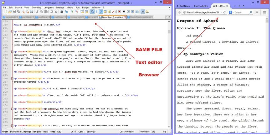 The html in the basic Word doc and how it displays in Firefox.